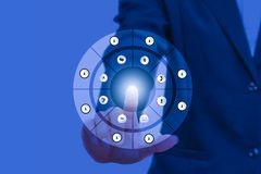 Businessman pressing modern social buttons on social network interface with finger hand touch technology. Icon on blue background and copy space add text Stock Image