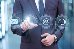 Businessman pressing phone button. royalty free stock images