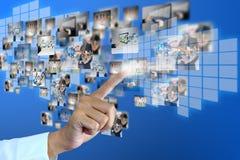 Businessman pressing social media Royalty Free Stock Photography