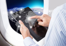 Businessman pressing social network and modern communication technology Stock Photos