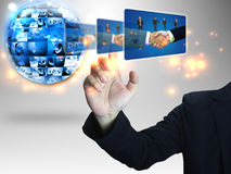 Businessman pressing Successful business. Business man pressing Successful business Royalty Free Stock Image