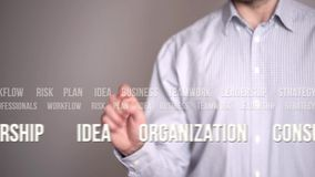 Businessman pressing an tags or keywords concept button. stock video footage