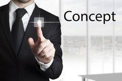 Businessman pressing touchscreen concept Royalty Free Stock Photos
