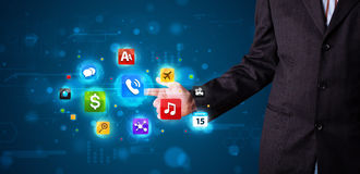 Free Businessman Pressing Various Collection Of Buttons Royalty Free Stock Images - 35369869