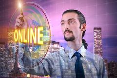 The businessman pressing virtual button online Royalty Free Stock Image