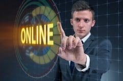 The businessman pressing virtual button online. Businessman pressing virtual button online Royalty Free Stock Photo