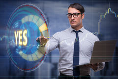 The businessman pressing virtual button yes. Businessman pressing virtual button YES Royalty Free Stock Photography