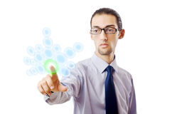 Businessman pressing virtual buttons Stock Images