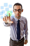 Businessman pressing virtual buttons Royalty Free Stock Image