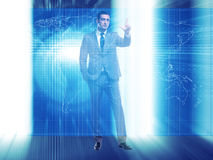 The businessman pressing virtual buttons in futuristic concept. Businessman pressing virtual buttons in futuristic concept Stock Photo