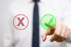 Businessman is pressing virtual checkmark royalty free stock image