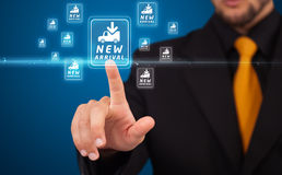 Businessman pressing virtual promotion and shipping type of icon Stock Photos