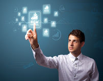 Businessman pressing virtual promotion and shipping type of icon Stock Photography