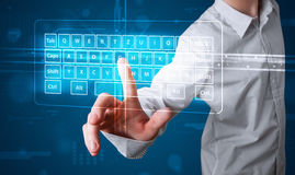 Businessman pressing virtual type of keyboard Stock Images