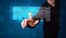Businessman pressing virtual type of keyboard Royalty Free Stock Image