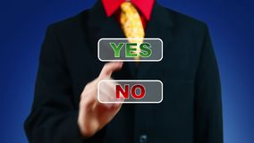 Businessman pressing Yes button stock video