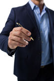 Businessman pretending to write on invisible screen Royalty Free Stock Image