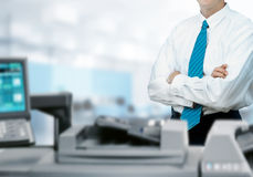 Businessman With Printer In Office Stock Photography