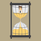 Businessman in prison Hourglass time Royalty Free Stock Photos