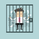 Businessman in prison. Vector illustration Royalty Free Stock Photography