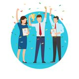 Businessman and Prize Poster Vector Illustration. Businessman and prize, poster of people, enjoying success, award and flying confetti, happy moments at work Royalty Free Stock Photos