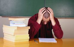 Businessman with problems. At school Royalty Free Stock Photos