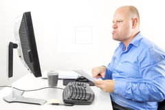 Businessman with problems at the office Stock Photos