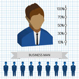 Businessman profiles icons with chart, flat style. Digital vector image Royalty Free Stock Photos