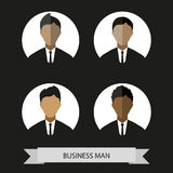 Businessman profiles icons, flat style. Digital vector image Royalty Free Stock Photos