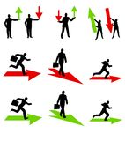 Businessman Profit and Loss Arrows. An illustration featuring your choice of 11 businessman silhouettes in various poses with green and red arrows to represent Royalty Free Stock Photo