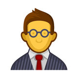 Businessman or Programmer Avatar Profile Userpic on White Background. Vector Royalty Free Stock Images