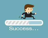 Businessman and progress loading bar. Success concept Royalty Free Stock Images