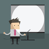 Businessman with projector screen. Royalty Free Stock Photo