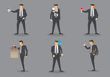 Businessman with Props Vector Characters. Vector illustration of businessman in front view and side profile with different props. Set of six cartoon characters Royalty Free Stock Photography