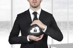 Businessman protect cloud symbol lock Stock Images