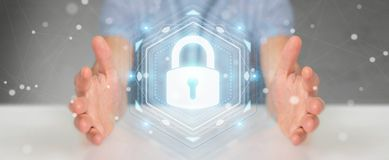 Businessman protecting his datas with security interface 3D rend. Businessman on blurred background protecting his datas with security interface 3D rendering Royalty Free Stock Images