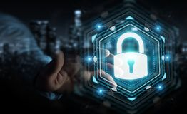 Businessman protecting his datas with security interface 3D rend. Businessman on blurred background protecting his datas with security interface 3D rendering Royalty Free Stock Photo