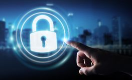 Businessman protecting his datas with security interface 3D rend. Businessman on blurred background protecting his datas with security interface 3D rendering Stock Photo