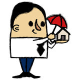 Businessman protecting a little house Royalty Free Stock Photo