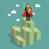 Businessman protecting money with shield and sword. Business concept Royalty Free Stock Photos
