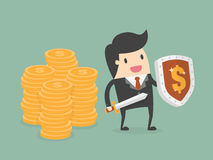 Businessman Protecting Money With Shield And Sword. Royalty Free Stock Image