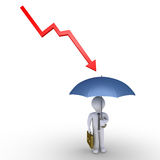 Businessman protection by umbrella. Arrow graph going downwards to businessman but he is protected by umbrella Royalty Free Stock Photos