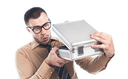 Businessman with protective case Stock Photography