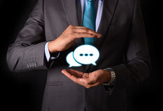 Businessman with protective gesture and text privacy in hands.  royalty free stock image