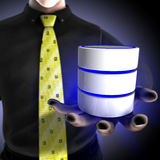 Businessman providing a database service. A solution provider gives the possibility to customers to manage their data on external database Stock Images