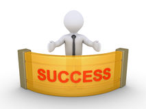 Businessman is providing success. 3d businessman behind a counter with SUCCESS word on it Stock Photo
