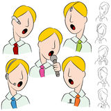Businessman Public Speaker Microphone Set Royalty Free Stock Photos