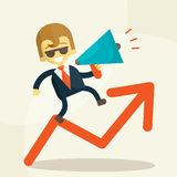 Businessman  public speaking on a megaphone Royalty Free Stock Image