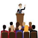 Businessman public speaking. Vector illustration on white background featuring public speaking businessman in front of people vector illustration