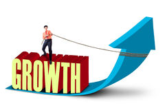 Businessman pull growth graph - isolated. Businessman is pulling growth graph with chain on white background Stock Photos